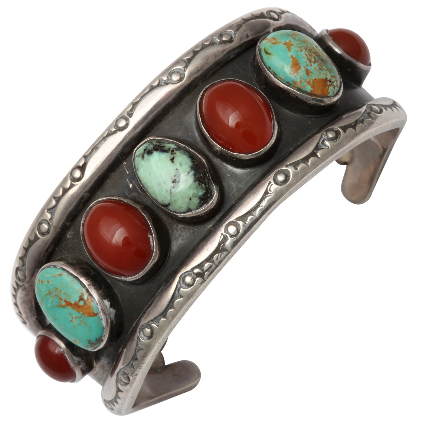 Old Navajo Cuff of Matrix Turquoise and Carnelian 1