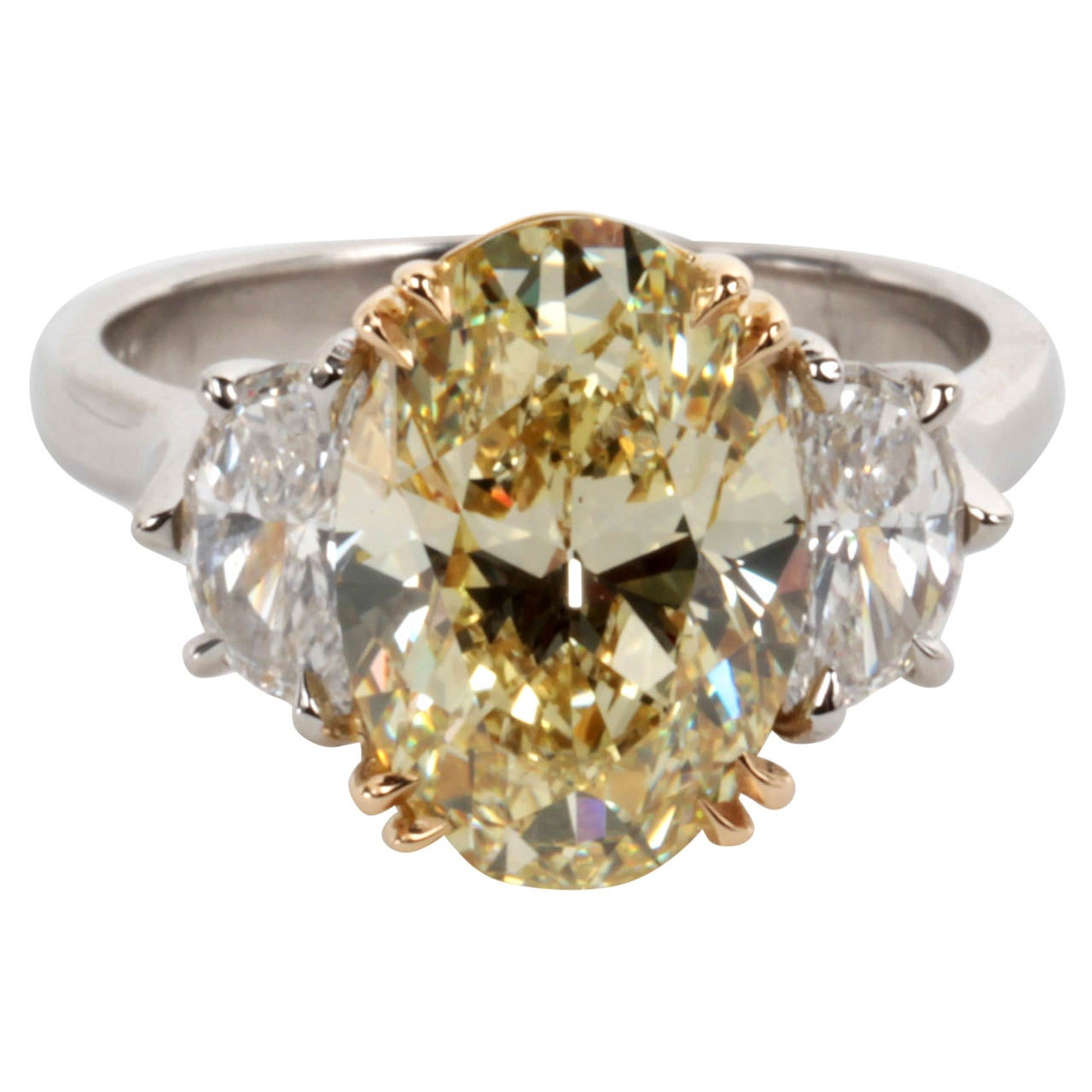 GIA Certified Oval Brilliant Fancy Yellow VS1 Diamond Ring