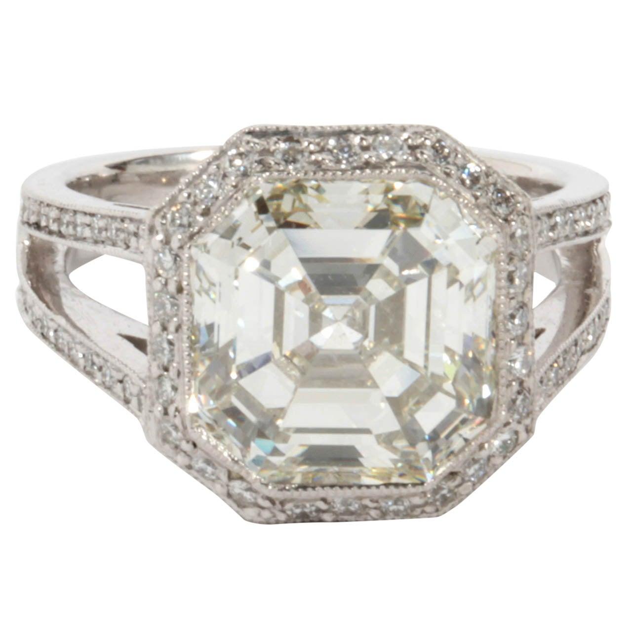 Certified 5.28 carat Asscher cut Diamond Engagement ring