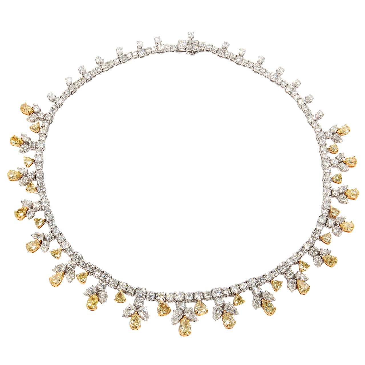 Yafa signed jewels new york ny 1stdibs page 4 - Classic Yellow And White Diamond Platinum Necklace