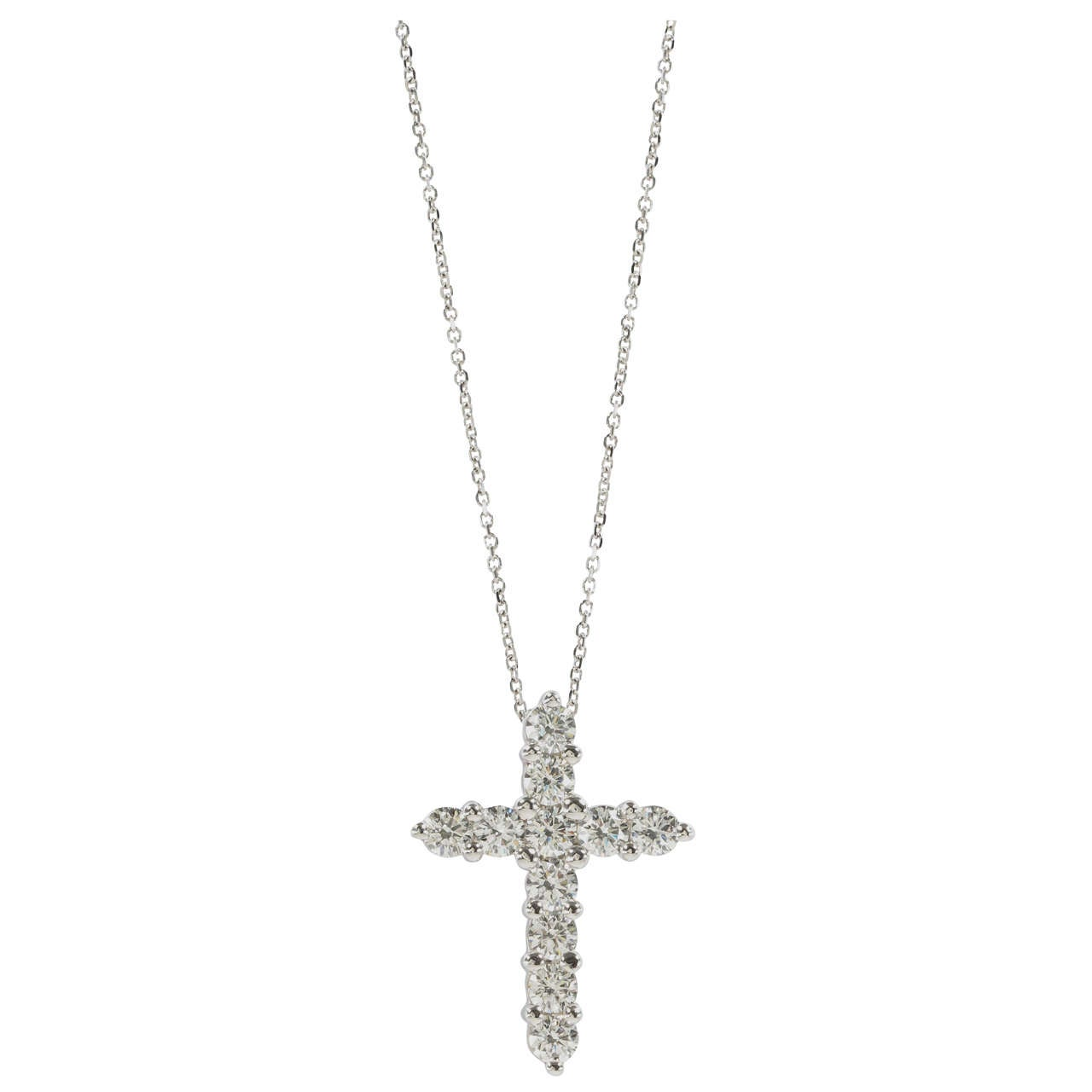316a6c7b9 Classic Diamond Cross Pendant on Chain For Sale at 1stdibs