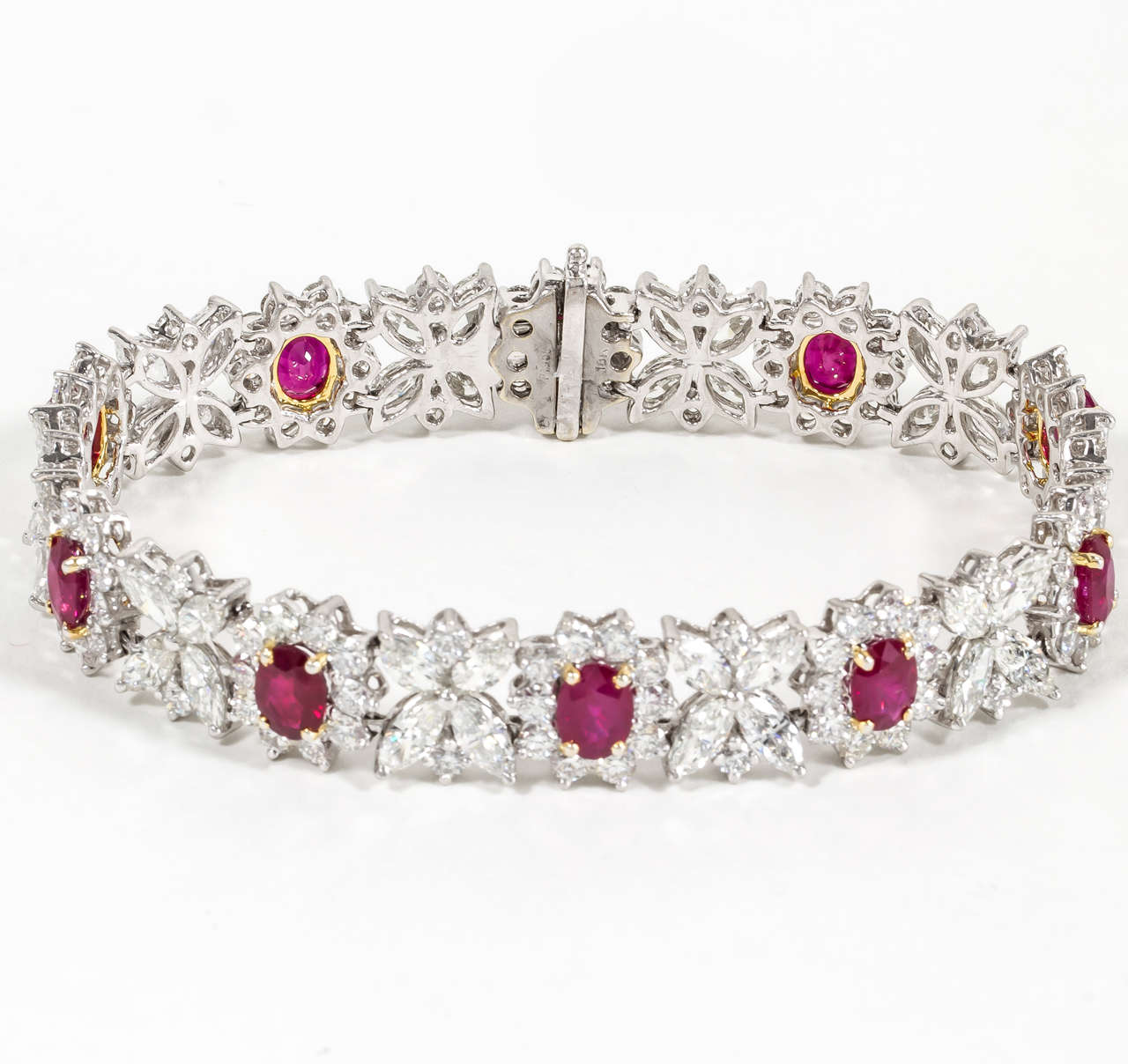 Elegant Ruby And Diamond Bracelet Set In Platinum 11 41 Carats Of Oval Burma Rubys