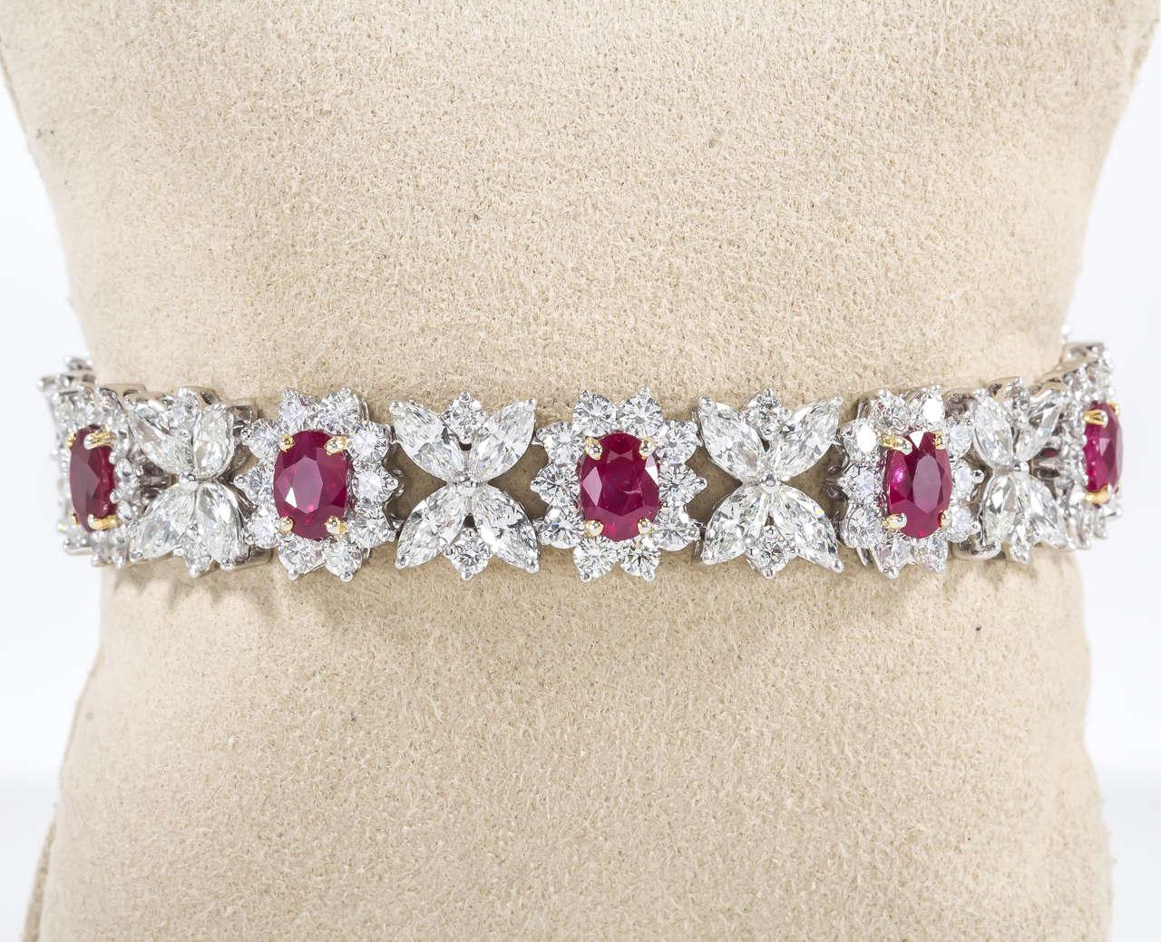 Fine Burma Ruby Diamond Bracelet 4