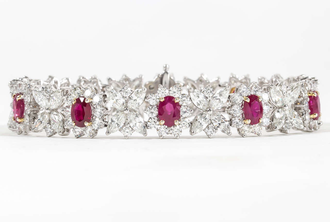 Fine Burma Ruby Diamond Bracelet 5