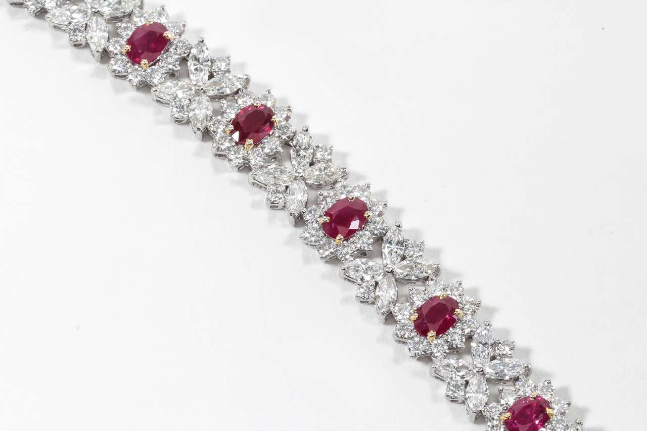 Fine Burma Ruby Diamond Bracelet 6