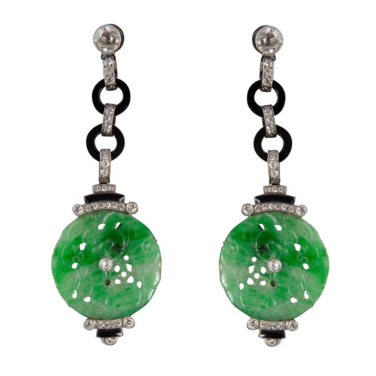 Exquisite Art Deco Jade Diamond And Onyx Earrings At 1stdibs