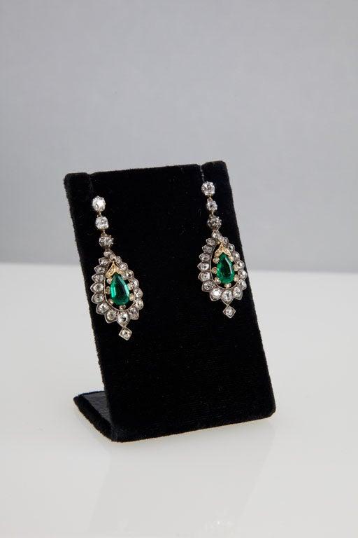 Rare Victorian Emerald Diamond Silver Gold Pendant Earrings 6