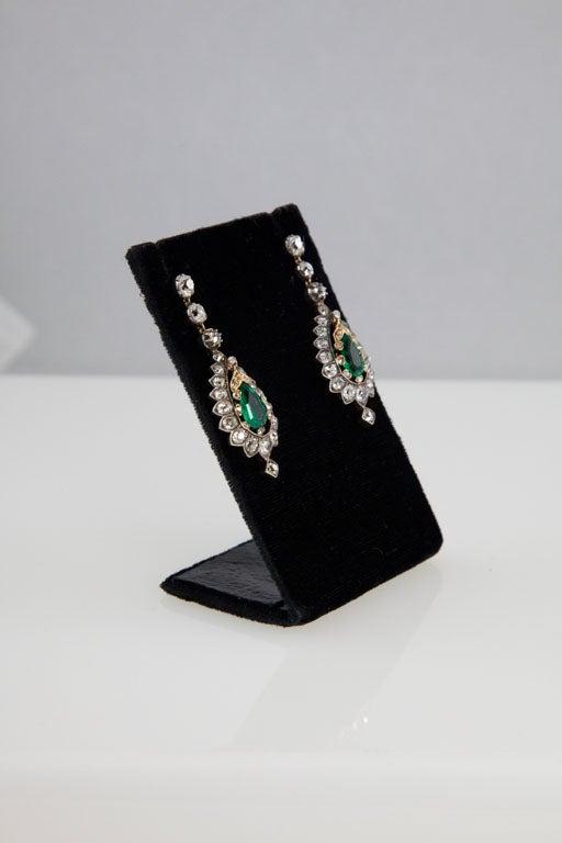 Rare Victorian Emerald Diamond Silver Gold Pendant Earrings 3