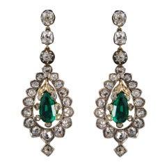 Rare Victorian Emerald Diamond Silver Gold Pendant Earrings