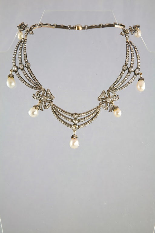 Highly Prized Victorian Natural Pearl Diamond Gold Necklace 10