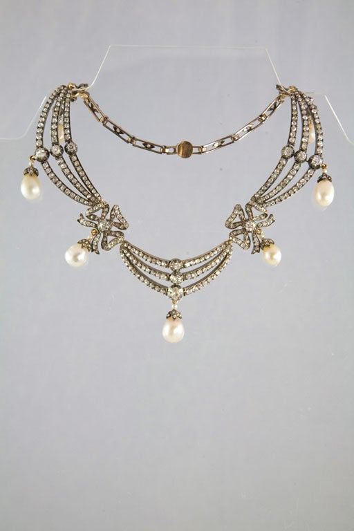Highly Prized Victorian Natural Pearl Diamond Gold Necklace 3