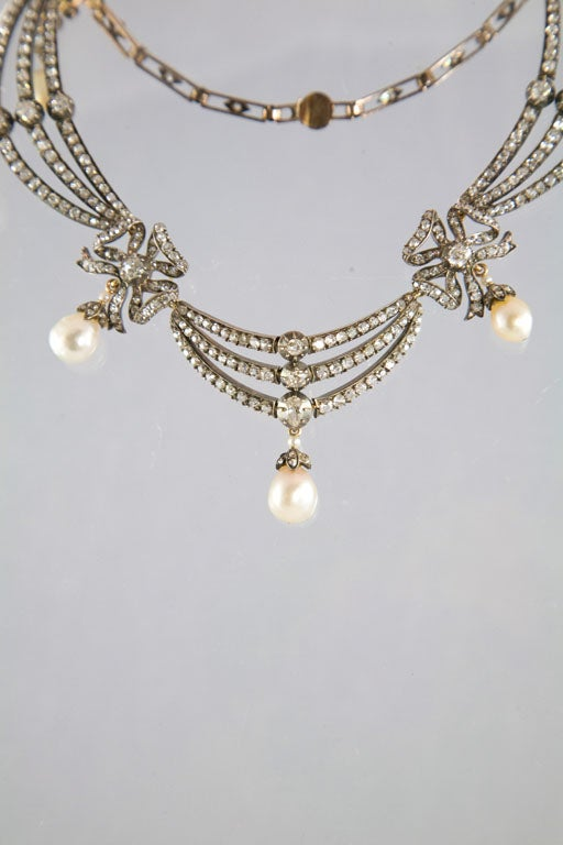 Highly Prized Victorian Natural Pearl Diamond Gold Necklace 4