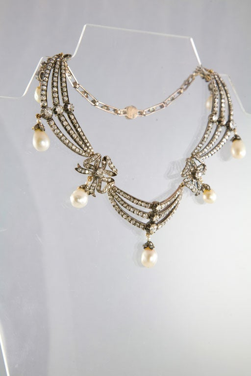 Highly Prized Victorian Natural Pearl Diamond Gold Necklace 5