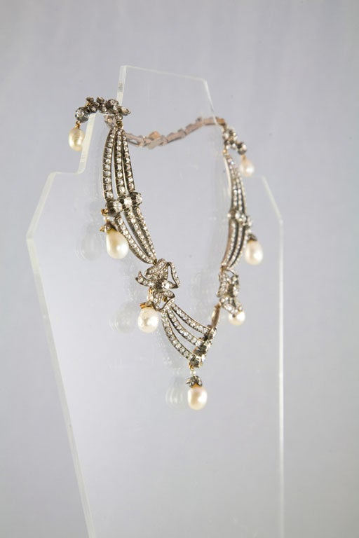 Highly Prized Victorian Natural Pearl Diamond Gold Necklace 6