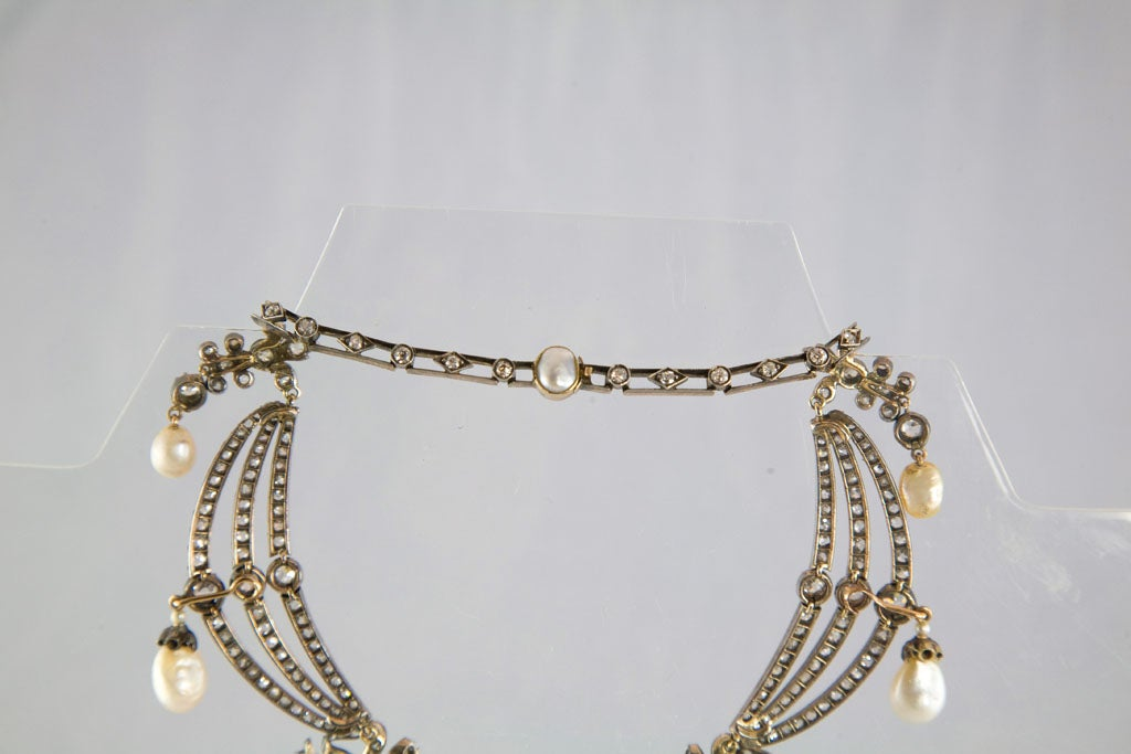 Highly Prized Victorian Natural Pearl Diamond Gold Necklace 8