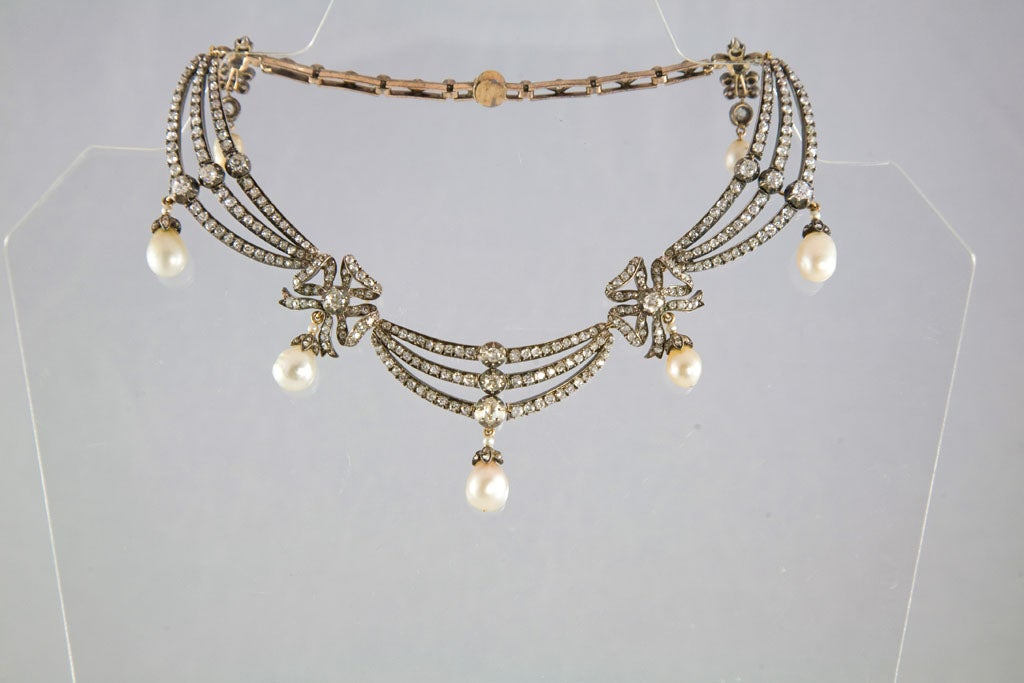 Highly Prized Victorian Natural Pearl Diamond Gold Necklace 2