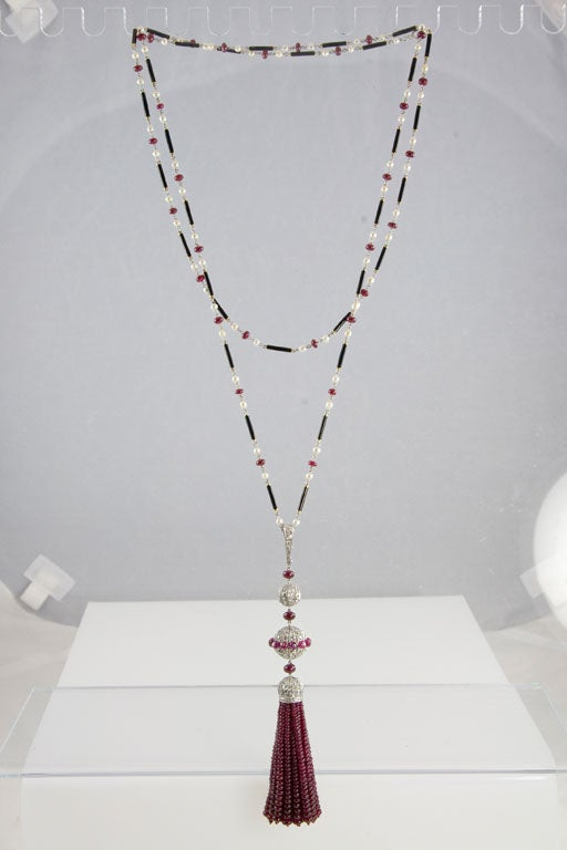 Gorgeous Enamel Pearl Ruby Diamond Gold Platinum Tassel Necklace 10