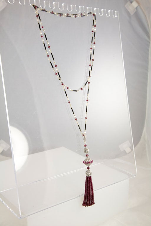 Gorgeous Enamel Pearl Ruby Diamond Gold Platinum Tassel Necklace 4
