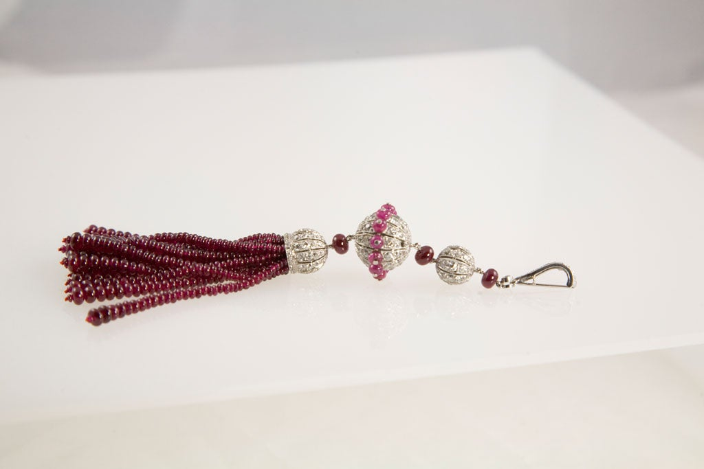 Gorgeous Enamel Pearl Ruby Diamond Gold Platinum Tassel Necklace 7