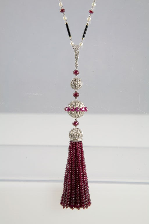 Gorgeous Enamel Pearl Ruby Diamond Gold Platinum Tassel Necklace 2