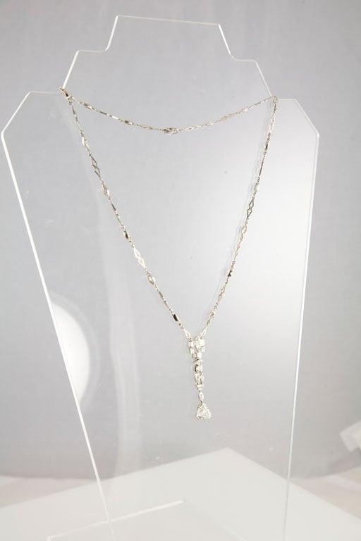 Unusual Art Deco Diamond Platinum Drop Necklace 4