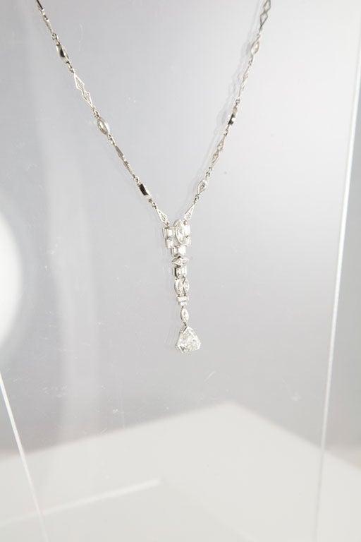 Unusual Art Deco Diamond Platinum Drop Necklace 5
