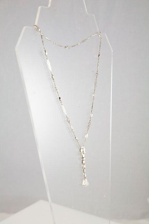Unusual Art Deco Diamond Platinum Drop Necklace 6