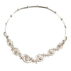 Remarkable Edwardian Diamond Platinum Swirl Necklace/Bracelet