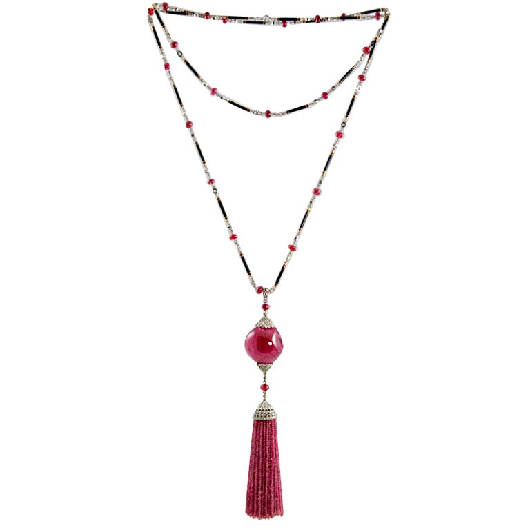 Exceptional Spinel Tassel Necklace 1