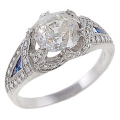 2.13 Carat Diamond, Sapphire and Platinum Ring