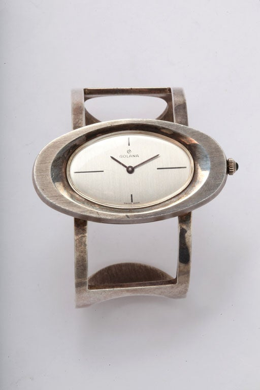 60s Sterling Bracelet Wristwatch by Galana In Excellent Condition For Sale In Water Mill, NY