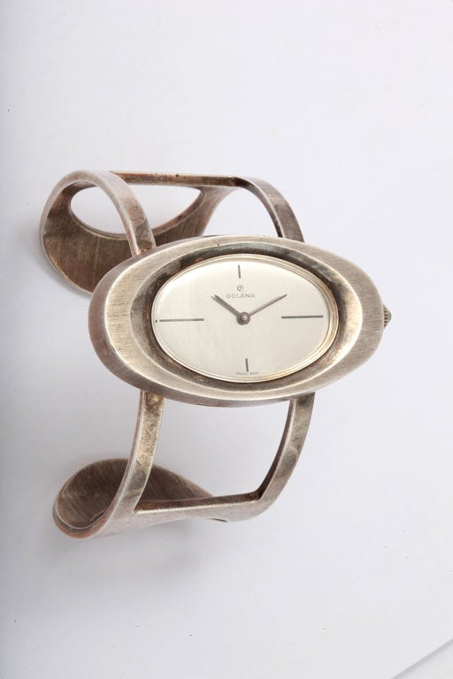 Modernistic Sterling Swiss Windup Bracelet Watch by Galana-Working Condition