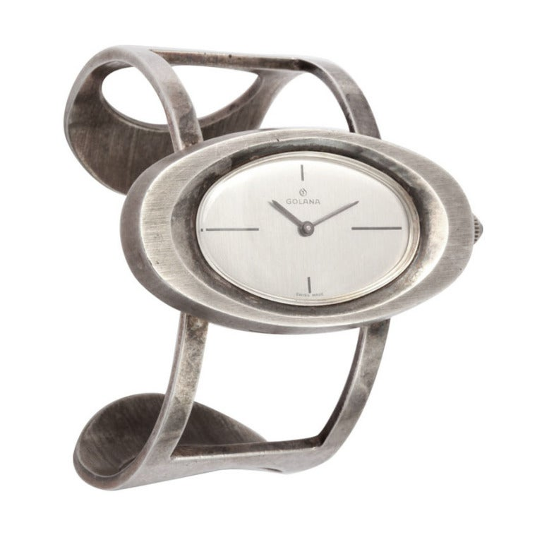 60s Sterling Bracelet Wristwatch by Galana For Sale