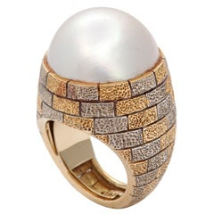 Massive Two Tone Ring With Mabe Pearl