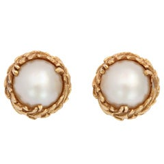 Mabe Pearl Yellow Gold Earrings
