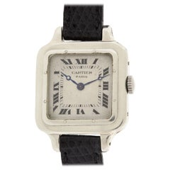 Cartier White Gold Santos Dumont Wristwatch circa 1910s