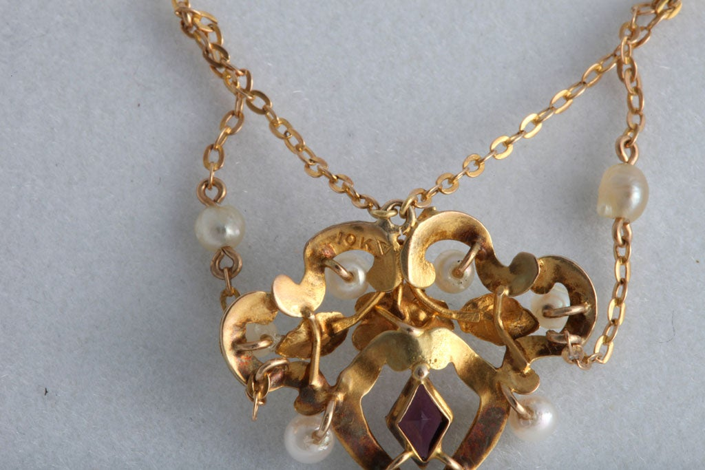 Art Nouveau Enamel Garland Necklace with Pearls and ...