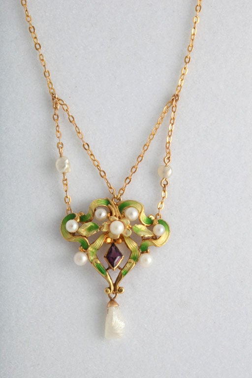 Art Nouveau Enamel Garland Necklace with Pearls & Amethyst 2