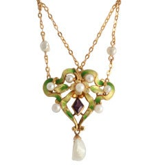 Art Nouveau Enamel Garland Necklace with Pearls and Amethyst