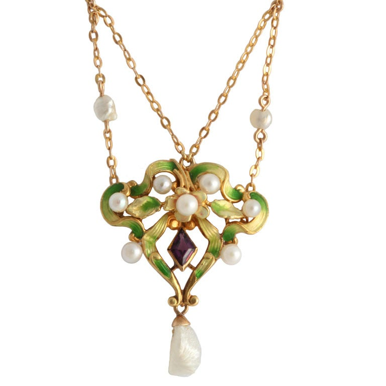 Art Nouveau Enamel Garland Necklace with Pearls & Amethyst