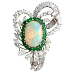 Australian Crystal Opal, Emerald and Diamond Brooch Clip
