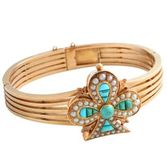 Victorian Turquoise and Seed Pearl Clover Gold Bangle Bracelet