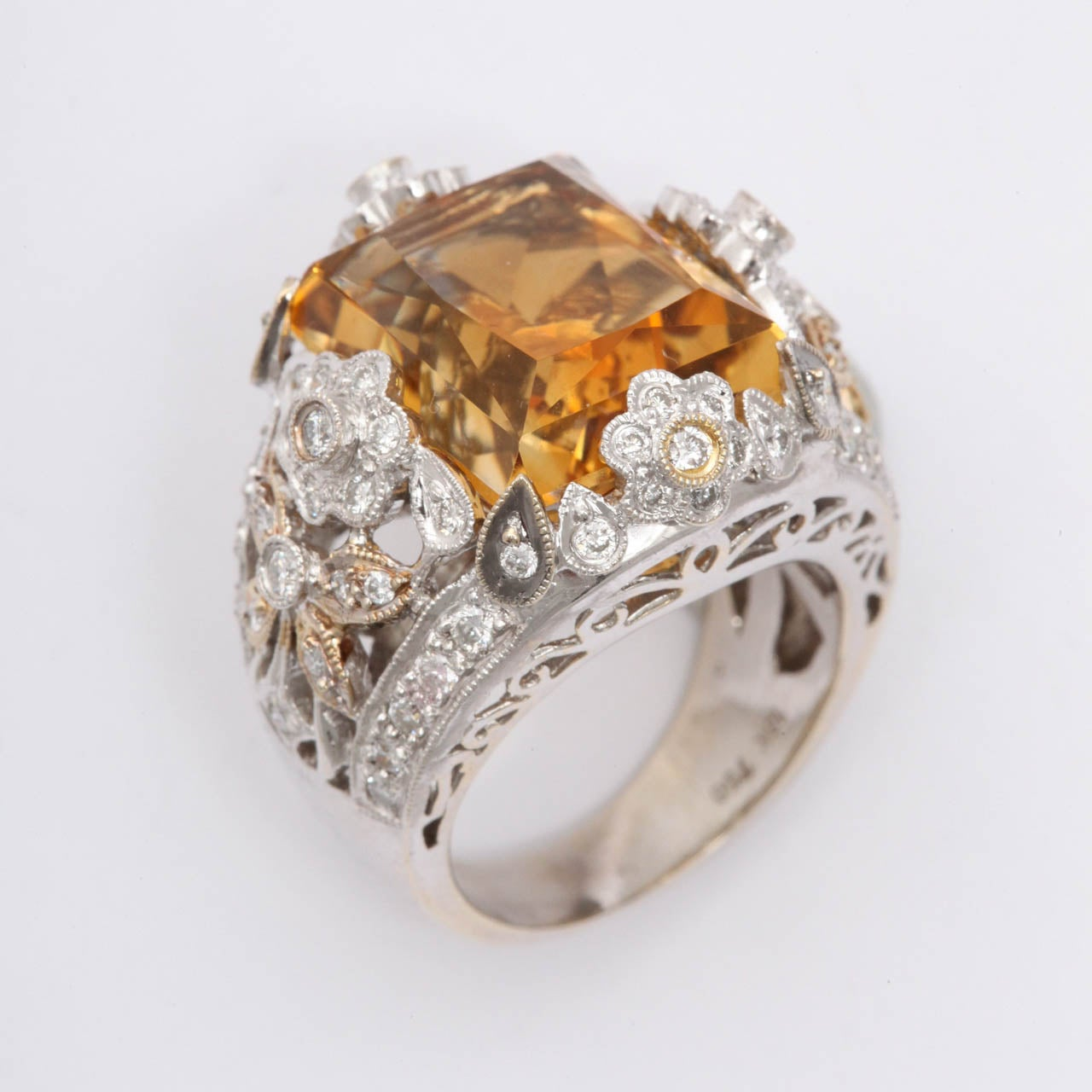 1980s princess cut citrine white and yellow gold dinner