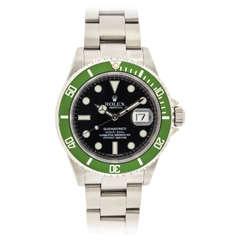 Rolex Stainless Steel Green Anniversary Submariner Wristwatch Ref 16610
