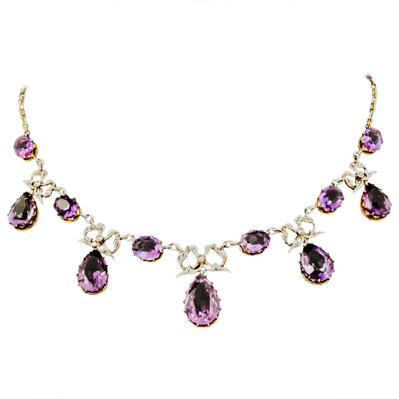 Amethyst and Diamond Necklet