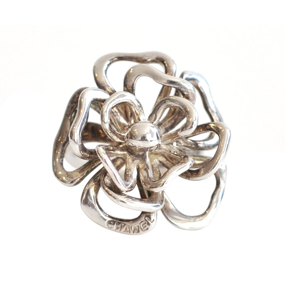 sterling silver floral ring by chanel at 1stdibs