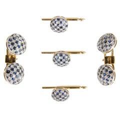 Art Deco Sapphire Diamond Gentleman's Dress Set