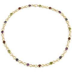 Colored Stone Sapphire Gold Necklace, circa 1980