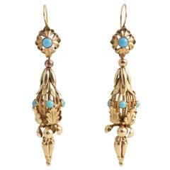 Georgian Turquoise Gold Regency Drop Earrings