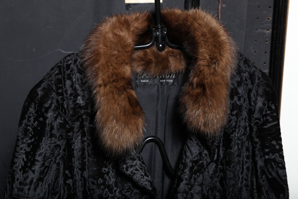 Black Russian Broadtail & Sable Vintage Fur Coat by Revillon For Sale